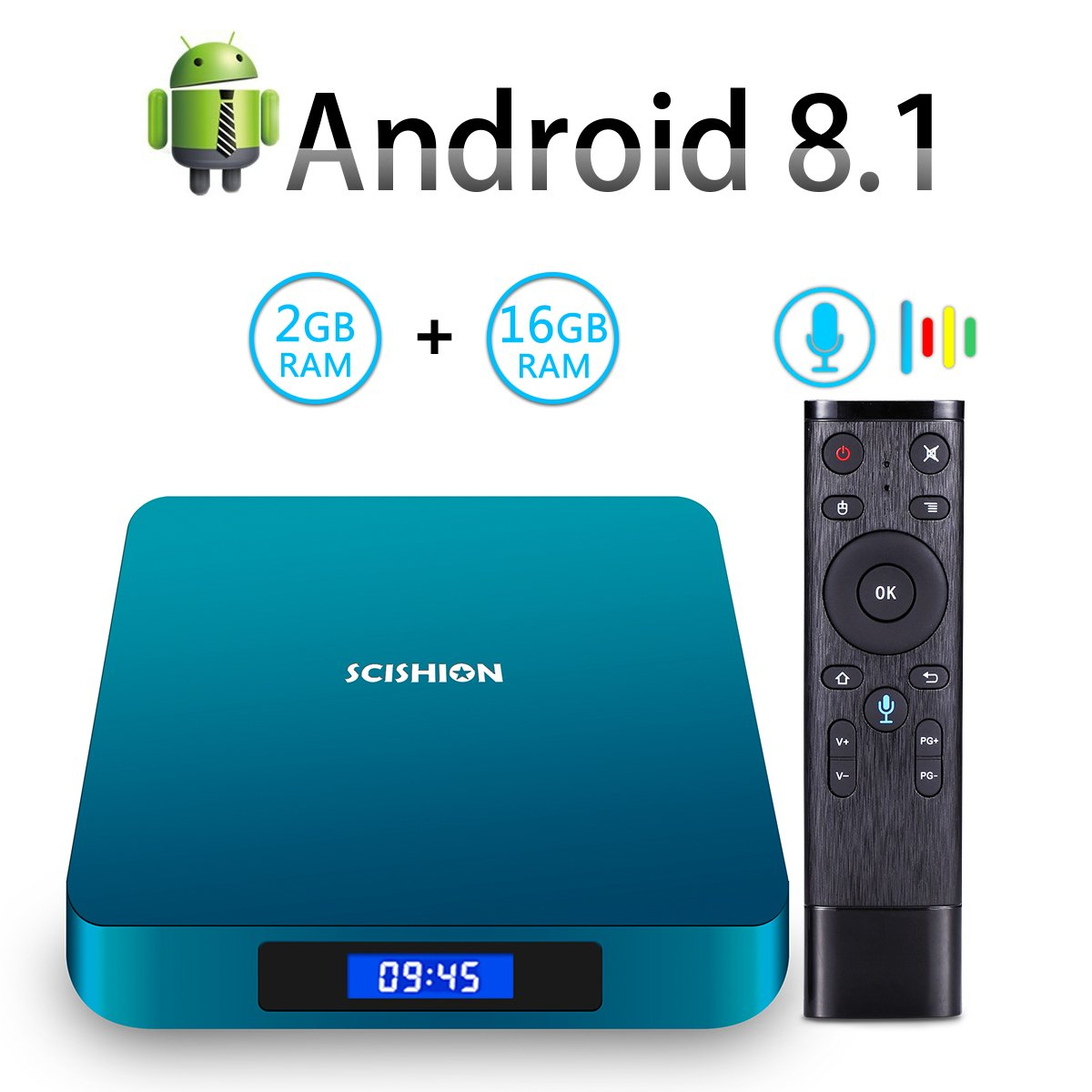 Android 8.1 TV Box with Voice Remote, RK3328 Quad Core 64bit 2GB DDR3 16GB eMMC Memory Smart TV Box with Bluetooth 4.0 WiFi Ethernet HDMI HD 4K Media Player Set Top Box by YAGALA (Image #1)
