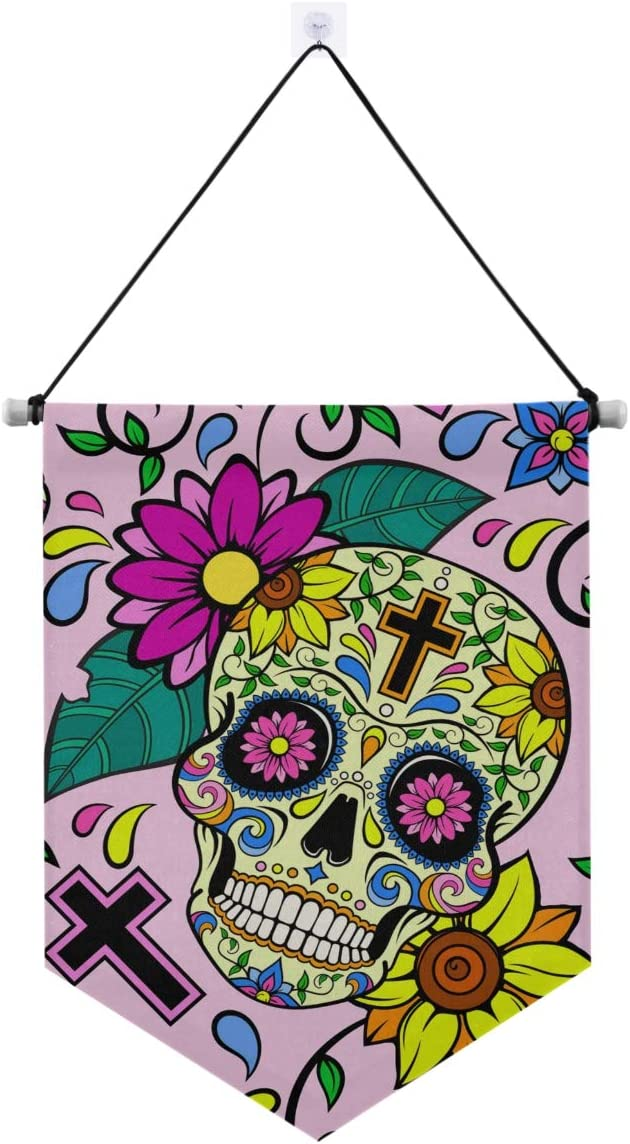 ALAZA Halloween Door Banner,Yellow Sugar Skulls Cross Floral Day of The Dead Hanging Wall Sign for Home Front Door Porch Yard Decor,Welcome Gate Sign Banner for Indoor Outdoor