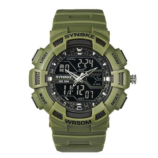 amstt Hombre Cronógrafo Militar Densidad de deportes de agua reloj digital de alarma de reloj de pulsera reloj de cuarzo verde: Amazon.es: Relojes