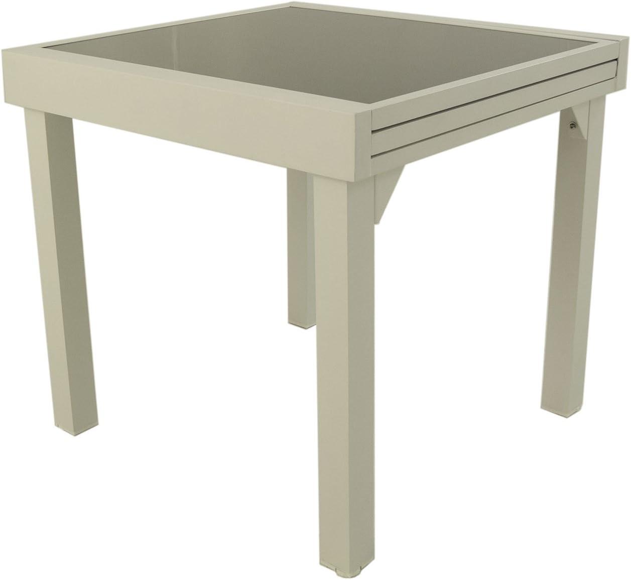 Mesa para jardín Extensible de 80 cm a 160 cm, Aluminio Color Blanco y Cristal Grueso Color taupé, Tamaño: 80x80/160x76 cm