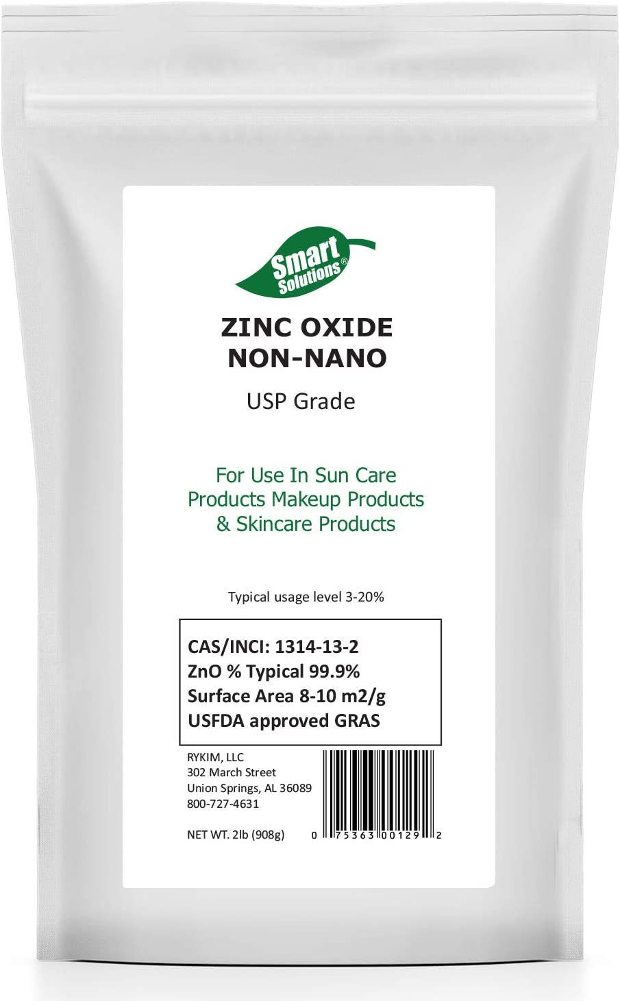 Zinc Oxide Non-Nano 100% Pure Zinc Powder, 2 lb, Food and USP Grade | for DIY Sunscreens, Makeup & Skincare