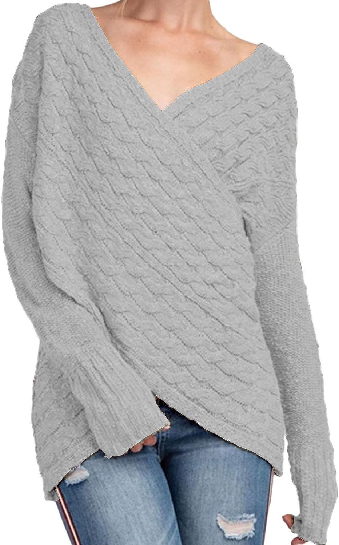 YOINS Women Cross Wrap Front Knit V Neck Irregular Hem Jumper Sweater Long Sleeves Tops