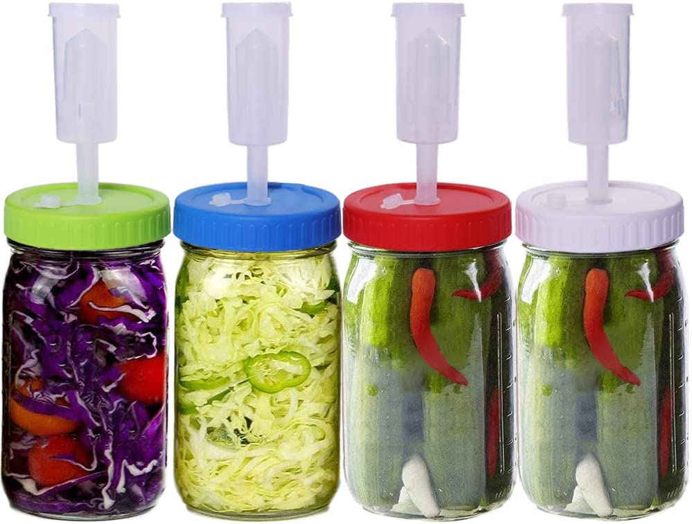 Sorlakar Fermentation Lids for Wide Mouth Mason Jars, 4 Pack Fermented Kit with Vacuum Pumps and Silicon Grommets, Perfect for Fermented Probiotic Foods. (Jars not include)