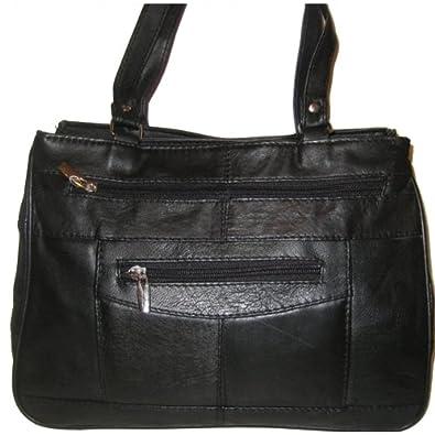 f1641cfff92a8 Handtasche - Echt Leder - Schwarz  Amazon.de  Schuhe   Handtaschen