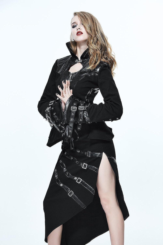 9b2286bd1cd92a Gothic Damen Sexy Persönlichkeit Neuheit Schwarz Mantel Mit Gürtelschnalle  Steampunk Lady Cocktail Jacke Charming Tops Mit Rock Verziert Design:  Amazon.de: ...