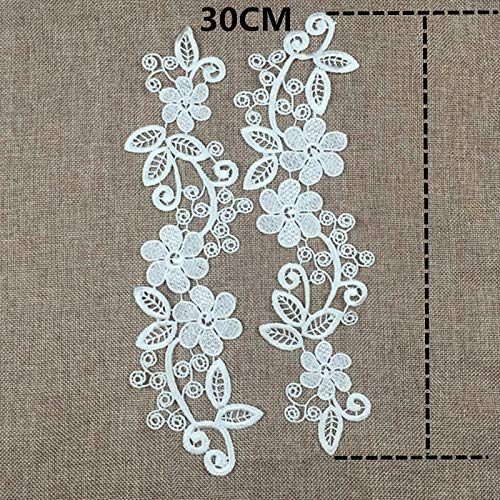 2Pcs Floral Embroidered Lace Fabric Applique Guipure Wedding Dress Sewing Patch | Color - White