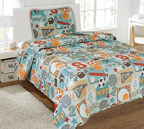 Sports Champ 5Pc Combo Set Quilt/Sheet Twin Bedding Bedspread Coverlet by Bedding Set (Image #1)