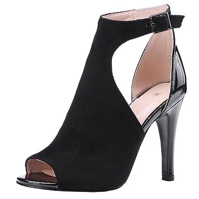 Artfaerie Damen High Heels Sommer Ankle Boots mit Schnalle und Stiletto Peeptoes Riemchen Sandalen Moderne Schuhe