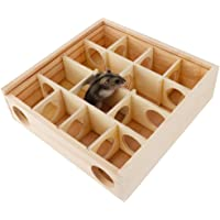Wooden Maze Hole Tunnel Toy with Glass Cover, Small Pet Animals Activity Sport Hamster Labyrinth Dwarf Gerbil Play House…