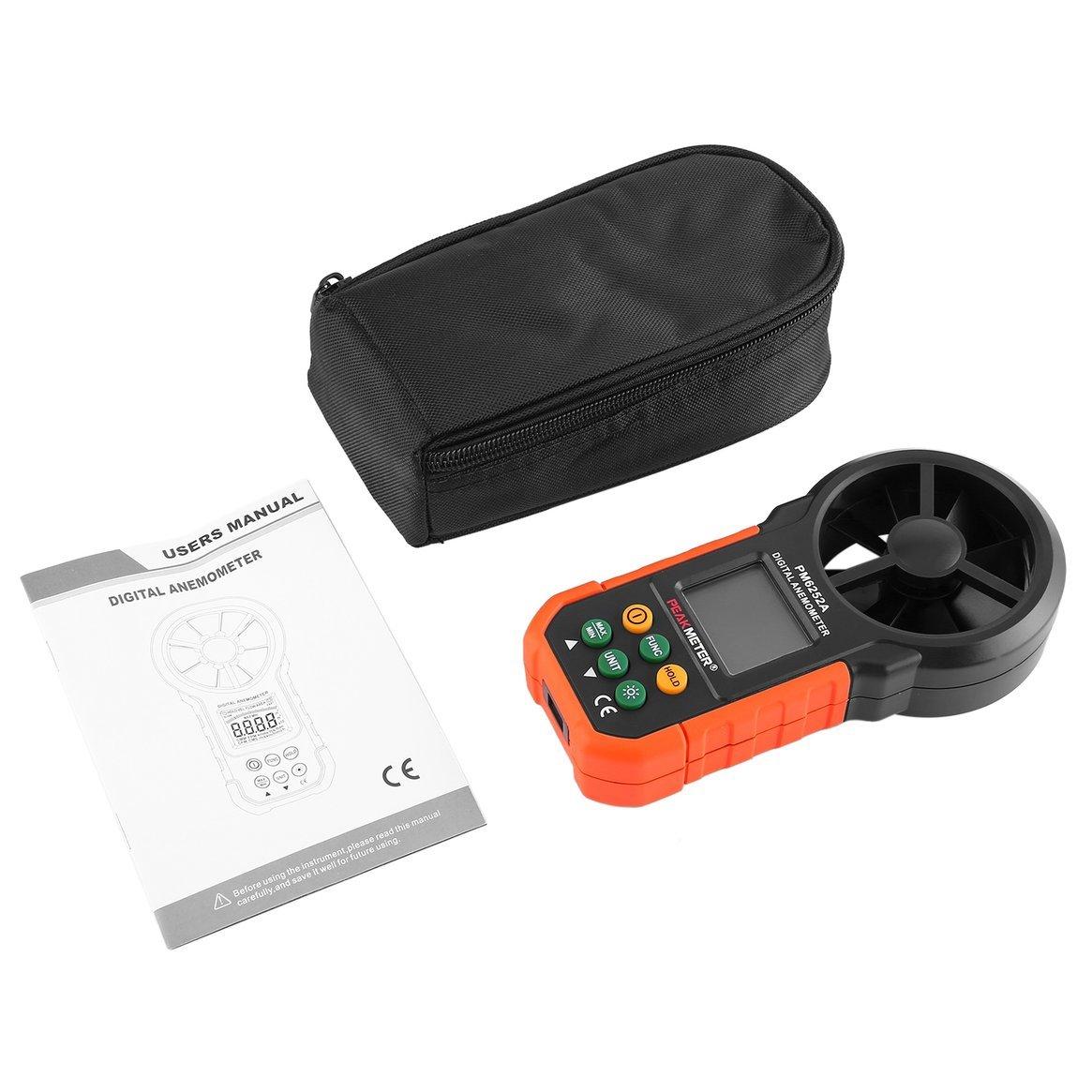 1x medidor de Prueba de Velocidad de Viento Profesional Multifunción Anemómetro Digital de Tacómetro/Volumen de Aire HYELEC MS6252A Delicacydex