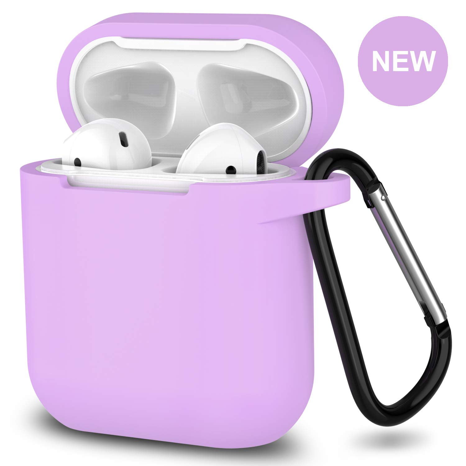 AirPods Case,SATLITOG Protective Silicone Cover Compatible with Apple AirPods 2 and 1(Not for Wireless Charging Case)(Light Purple)