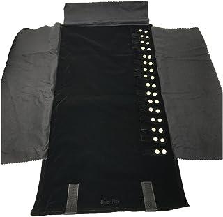 Large Velet Travel Jewellery Roll Bag Organiser for Necklace, Black