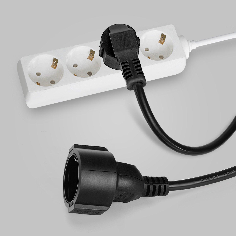 SIMBR Verl/ängerungskabel 5m Schuko Verl/ängerung H05VV-F 3G 1,5mm Schwarz