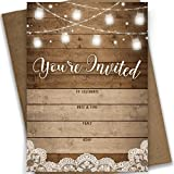 Rustic Fill-in Party Invitations, 25 Invites and Envelopes, Bridal Shower, Baby Shower, Rehearsal Dinner, Birthday Party, and Anniversary Parties