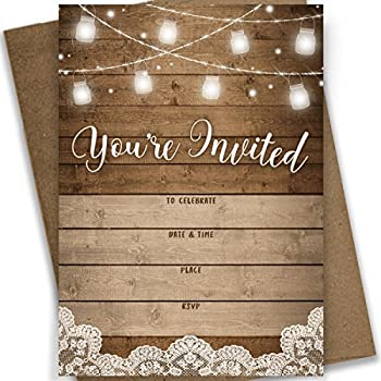 You 39 re invited rustic fill in party for Bridal shower fill in invitations