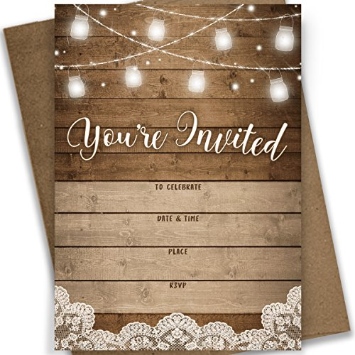 Rustic Fill-in Party Invitations, 25 Invites and Envelopes, Bridal Shower, Baby Shower, Rehearsal Dinner, Birthday Party, and Anniversary -