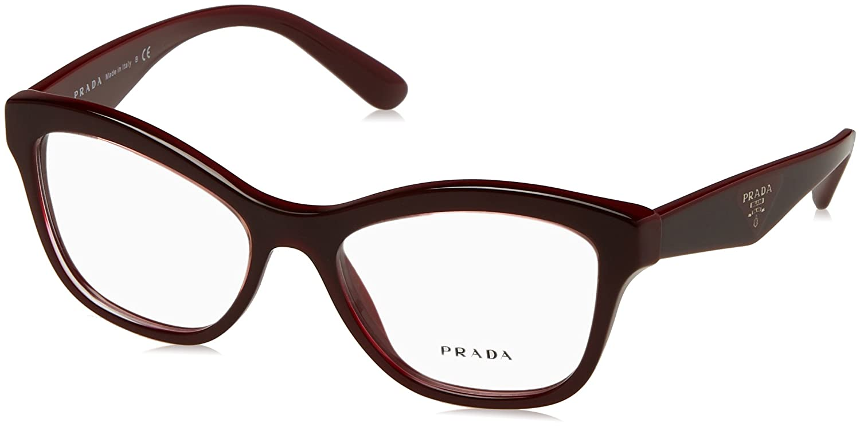 03148871b90 PRADA PR 29RV Eyeglasses UAN1O1 Opal Bordeaux On Bordeaux 52-17-140   Amazon.co.uk  Clothing
