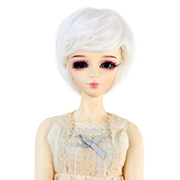 BJD Doll 1//3 9-10 Wig Short Curly High Temperature Fiber Boy Girl Dark grey