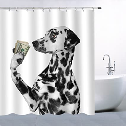 AMFD Shower Curtain Dalmatian Looks At The Dollar In Hand Novelty Special Pet Dog Bathroom