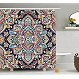 Ambesonne Ethnic Shower Curtain, Bohemian Style Tribal Ethnic Motif Vintage Henna Inspired Traditional Mehndi Art, Fabric Bathroom Decor Set with Hooks, 70 Inches, Multicolor