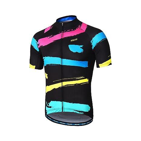 5cebb408e64 ARSUXEO Men s Cycling Jersey Short Sleeves Mountain Bike Shirt MTB Top  Zipper Pockets Reflective ZY842 S