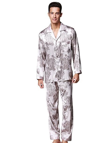 Menschwear Hombre Pajamas Set Serie Pijama Casual y Cómodo(Medium,Gris)