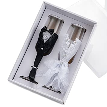 Amazon Wedding Wine Glasses Handmade Dress And Suit Bride