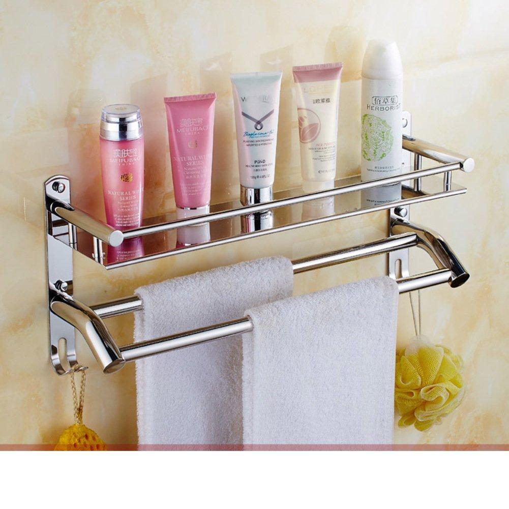 Stainless steel towel rack towel shelf bathroom for Bathroom accessories racks