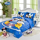 Sisbay Donald Duck and Mickey Mouse Bedding,Blue Cartoon Toddler Bed Set,Boys Girls Kids Birthday Gift Fitted Sheet Queen
