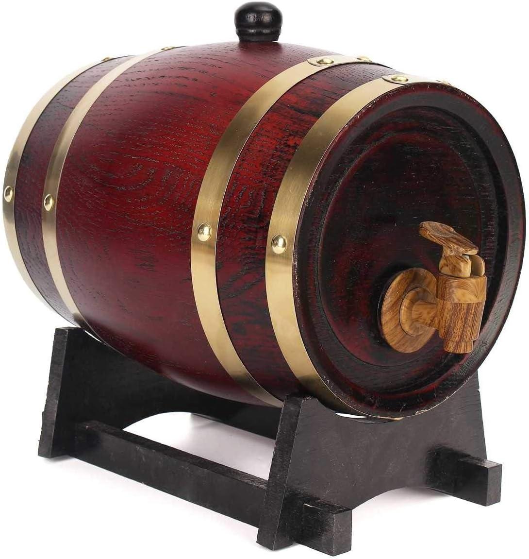 NO BRAND 1,5 l / 3L / 5L de Madera Barriles fermentación del Vino del Barril de la Madera de Roble elaborado Cerveza Vino Tinto Barril de Whisky Ron Brewing Barril Bar Accesorios