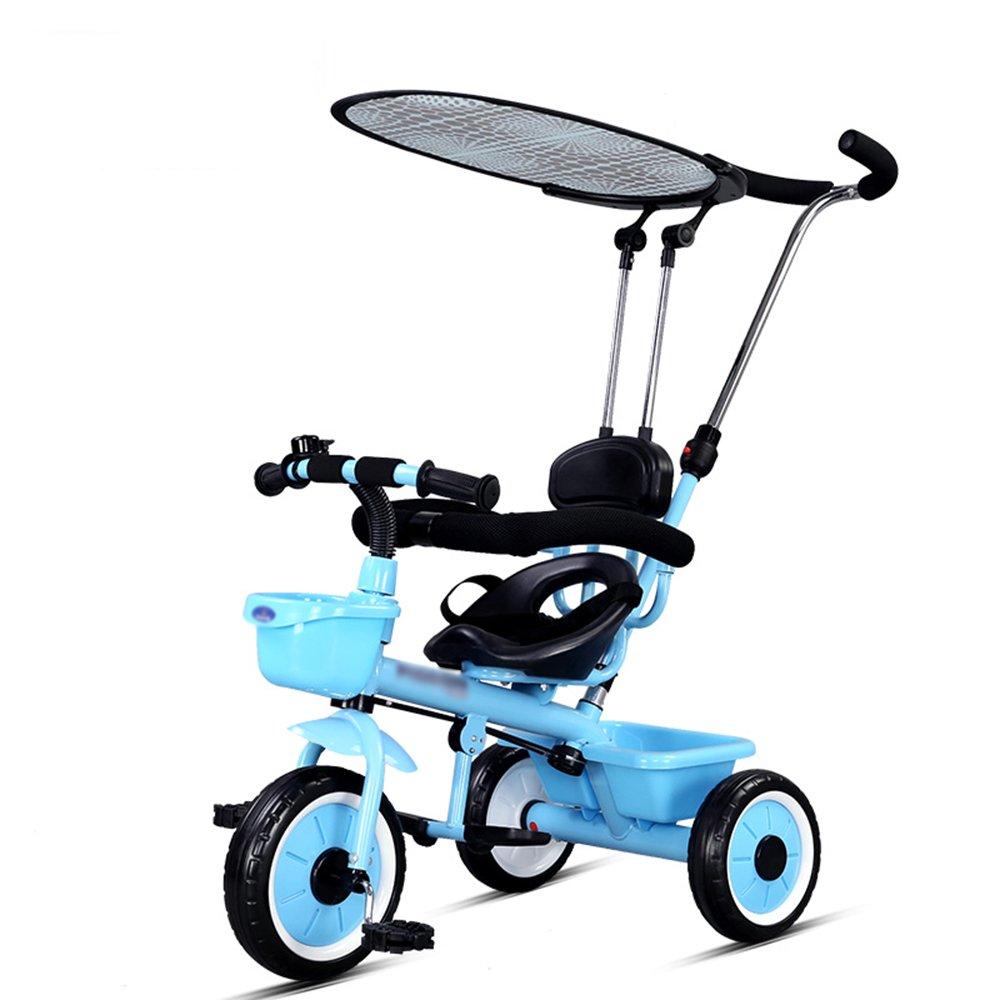 FEIFEI 子供3ラウンド自転車レッドホワイトブルー2-3-5歳のベビートロリー ( 色 : 青 ) B07CRJGRJ8 青 青