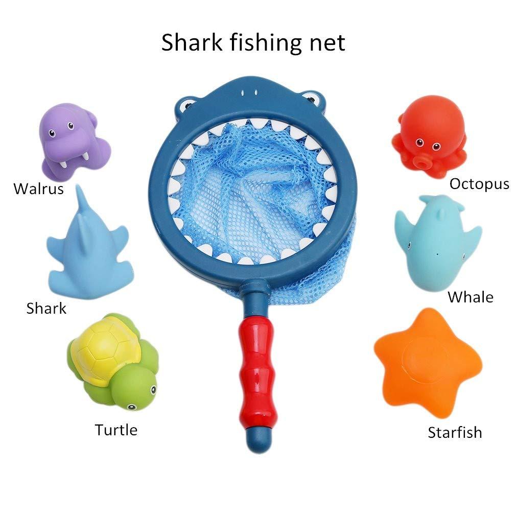 10 Piezas de Agua para ni/ños Blue ALANGDUO Juguetes de Ducha beb/és Juguetes para el ba/ño de Animales Juguetes de Sonido de Goma para apretar con Red de Pesca
