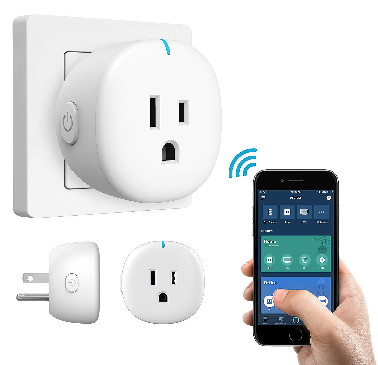 XFOX Smart Plug Wi-Fi 2 In 1 Sockets No Hub Required Compatible with Alexa Echo Works with Google Home IFTTT