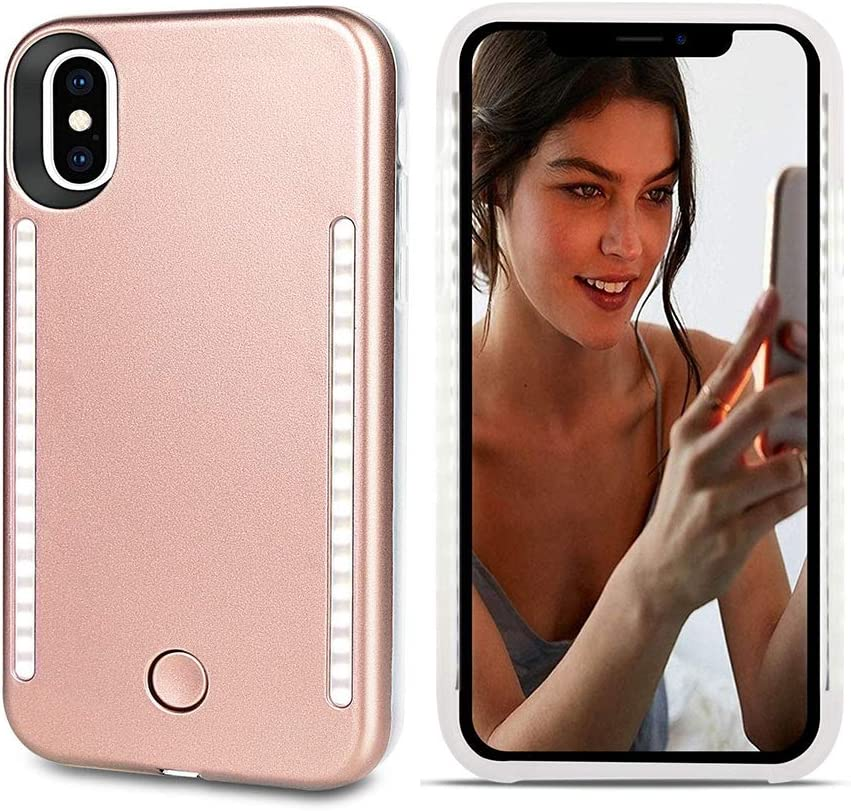 LNtech Selfie Light up Case for iPhone X/XS, Rechargeable LED Light Up Flash Lighting Selfie Case Dual Side Flashlight Illuminated Cover [Dimmable Switch] for iPhone X/XS(Rose Gold, iPhone X/XS)