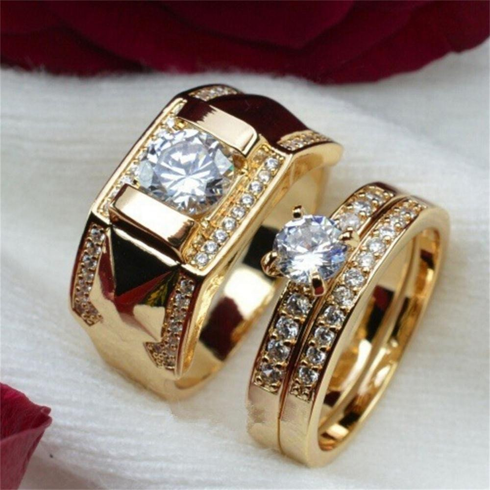 6d68e579d3f Amazon.com: Haluoo Couple Rings, Men's Women's Gold Stainless Steel Wedding  Bands Cubic Zirconia Diamond Engagement Promise Rings, Size 5-14: Sports &  ...