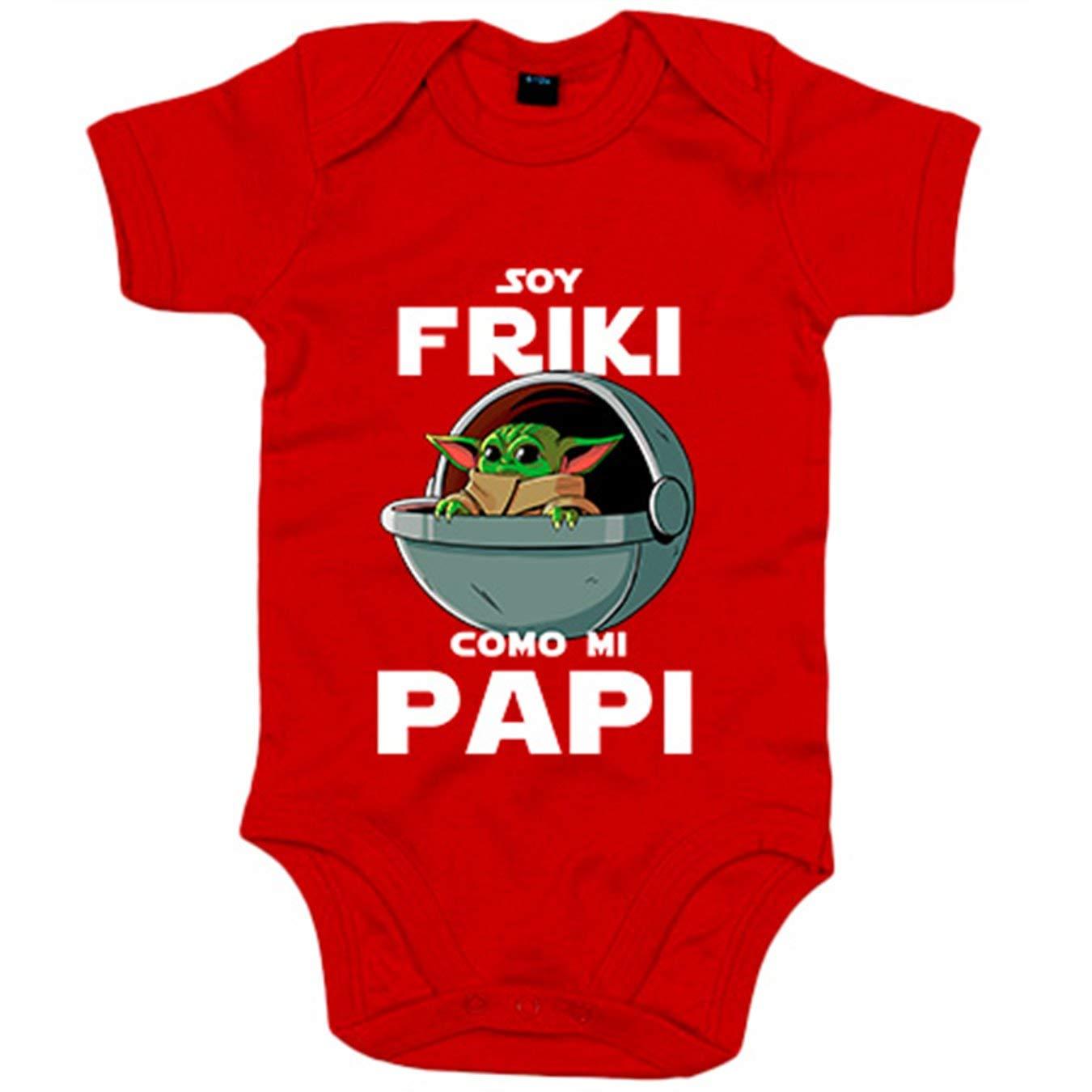 Amarillo 6-12 meses Body beb/é soy friki como mi papi ilustraci/ón baby yoda