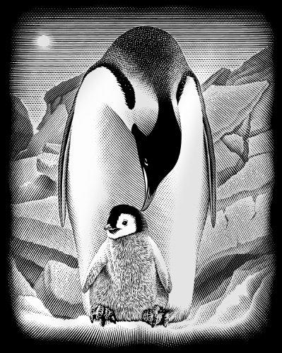 REEVES Kratzbild Silber Pinguine
