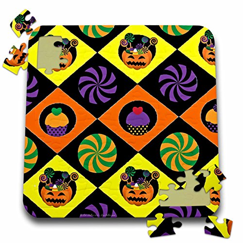3dRose Lee Hiller Designs Holidays Halloween - Halloween Colorful Jack o Lanterns Candy Cupcakes - 10x10 Inch Puzzle (pzl_44440_2) ()