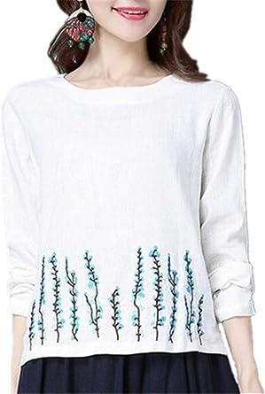 Aoliait Mujer Personalizadas Bordada T-Shirt Casual Botones ...