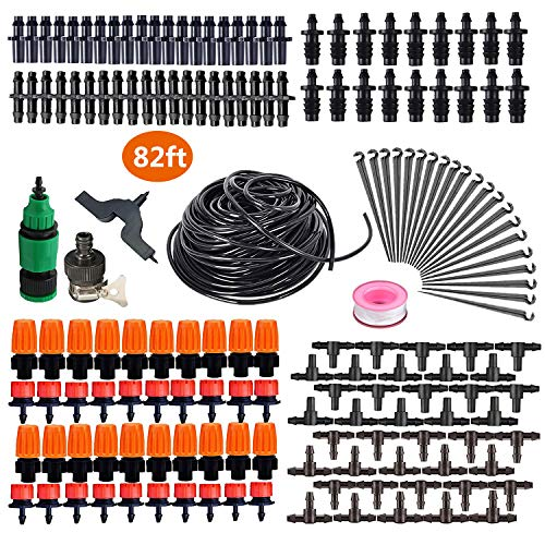 HANSILK 82ft DIY Adjustable Automatic Micro Irrigation System Kit Saving Water and Time 1/4-inch Blank Distribution Plant Self Watering Tubing Hose Atomizing Nozzles Drippers 2 Sprinkler Types
