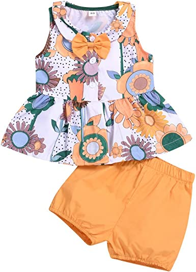 2pc Infant Baby Kids Boy Girl Summer Floral Print Tops+Shorts Outfit Set Clothes