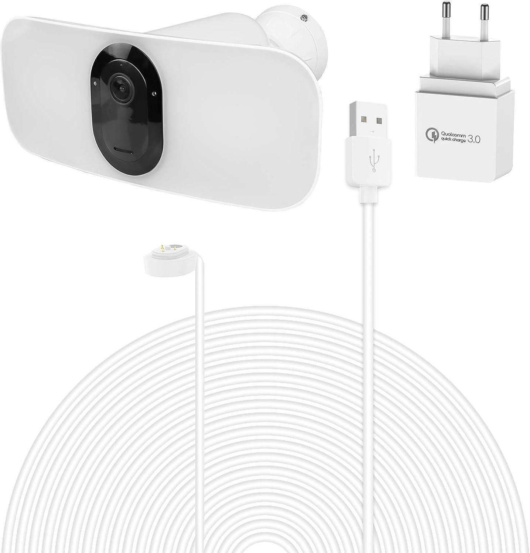 Arlo Pro 3 Floodlight Ladekabel BECEMURU Quick Charge 3.0 /& Akku-Ladeadapter mit 30ft//9m wetterfestem Magnetkabel f/ür Arlo Pro 3 Floodlight /Überwachungskamera