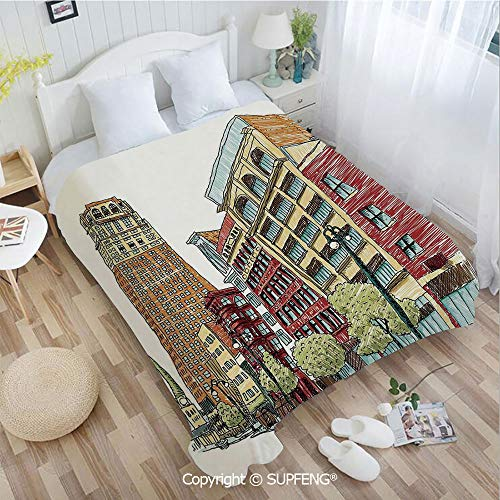 (Super Soft Blankets Grunge Graphic of European Avenue Modern Urban Life Downtown City Streets(W31.5xL47.3 inch ) Easy Care Machine Wash for Bedroom/Living Room/Camping etc)