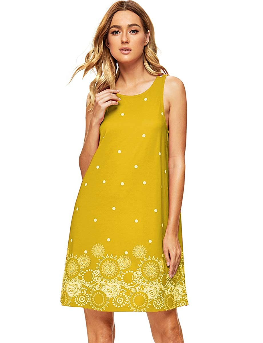 70s Outfits – 70s Style Ideas for Women ROMWE Womens Summer Sundress Floral Printed Sleeveless Casual A Line Dress $18.99 AT vintagedancer.com