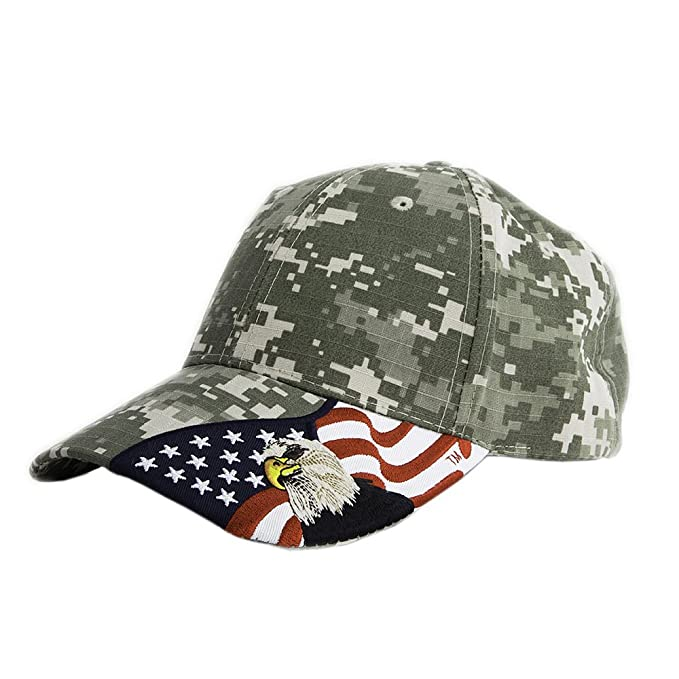 deaf0e019efe17 Embroidered USA American Eagle and American Flag 100% Cotton Baseball Cap  Hat Unisex, Digital