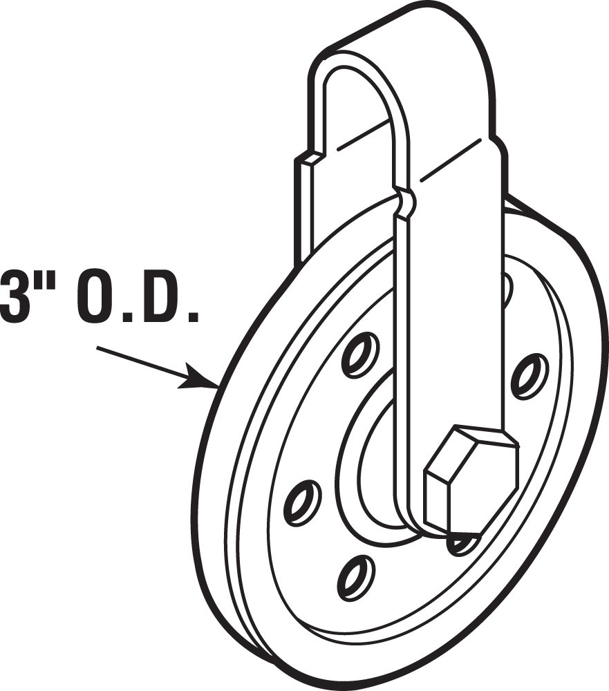 Prime-Line Products GD 52189 Pulley with 2 Straps and Axle Bolts 3-Inch Diameter