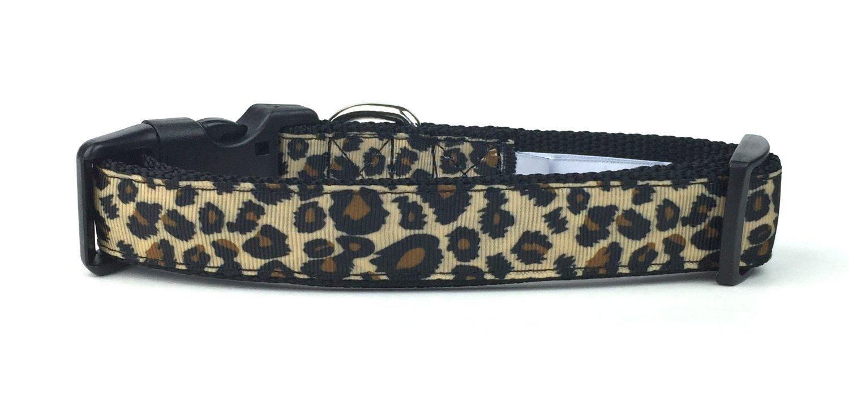 Medium Leopard Print Nylon Ribbon Dog Collar by Midlee