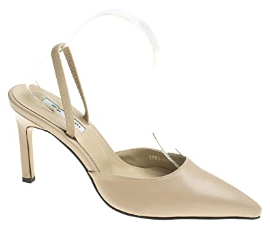 8c26dcc97b7a AnnaKastle Womens Two Way Strap Stiletto Heel Pumps Dress Shoes Beige
