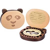 Baby Tooth Keepsake Fairy Box Holder with Lanugo Bottle, AhfuLife Wooden Panda Shape Keepsake Box for First Lost Teeth…