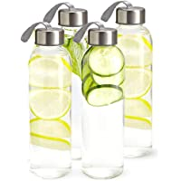 Kitchen Lux Glass Water Bottles 18oz - Nylon Protective Sleeves, Airtight Screw Top Lids, Portable Carrying Loops - Lead, PVC and BPA Free - Water, Smoothie, Juicer and Beverage Glasses (4 Pack)